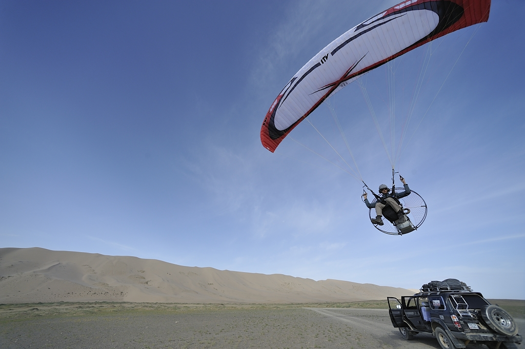 In flight over the Gobi desert