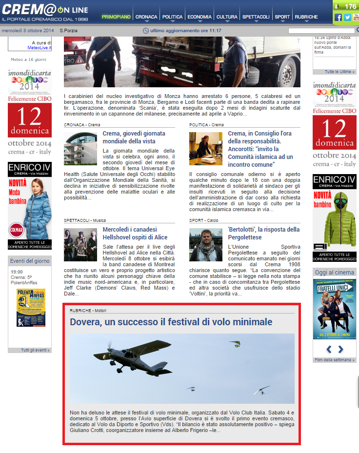 Cremaonline - Home page report evento