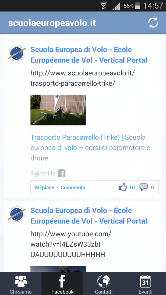 app android link pagina facebook