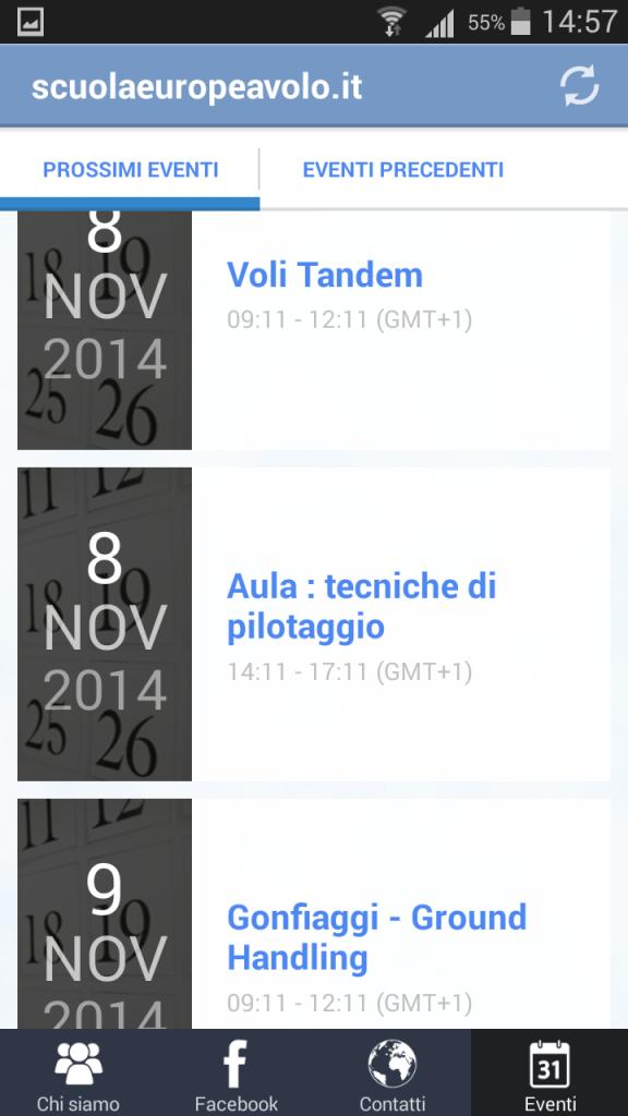 App android calendario lezioni scuola volo