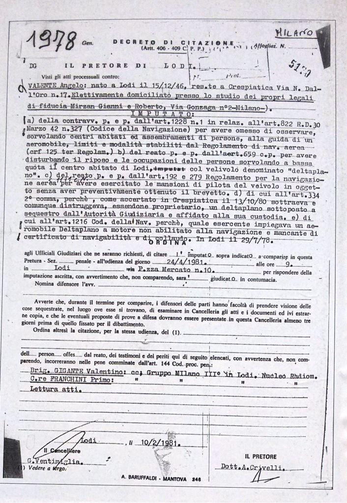 decreto di citazione 1981 lodi sorvolo centro abitato